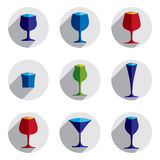 Colorful drinking glasses collection. Set of alcohol theme simpl Stock Photography
