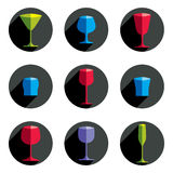 Colorful drinking glasses collection. Set of alcohol theme simpl. E  illustrations. Celebration elements, best for use in graphic and web design Royalty Free Stock Image
