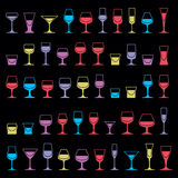 Colorful drinking glasses collection. Set of alcohol theme simpl. E vector illustrations. Celebration elements, best for use in graphic and web design Stock Image