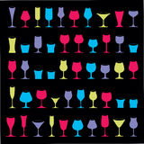 Colorful drinking glasses collection. Set of alcohol theme simpl. E vector illustrations. Celebration elements, best for use in graphic and web design Royalty Free Stock Image