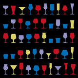 Colorful drinking glasses collection. Set of alcohol theme simpl. E vector illustrations. Celebration elements, best for use in graphic and web design Stock Photo