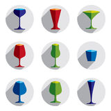 Colorful drinking glasses collection. Set of alcohol theme simpl. E vector illustrations. Celebration elements, best for use in graphic and web design Royalty Free Stock Photos
