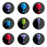 Colorful drinking glasses collection. Set of alcohol theme simpl. E vector illustrations. Celebration elements, best for use in graphic and web design Stock Photos