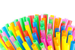 Colorful drinking straws. On white background Stock Photography