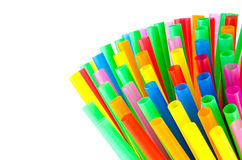 Colorful drinking straws background. Colorful drinking straws background isolated on white Royalty Free Stock Image