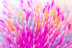 Colorful drinking straws close-up background Royalty Free Stock Photography