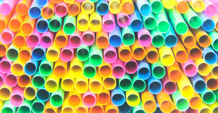 Colorful drinking straws close-up background, colorful plastic Stock Photography