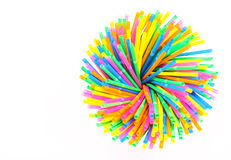 Colorful drinking straws close-up background, colorful plastic Stock Images