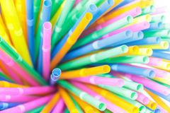 Colorful drinking straws close-up background, colorful plastic. Tubes Royalty Free Stock Photography