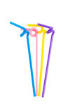 Colorful drinking straws isolated Stock Images