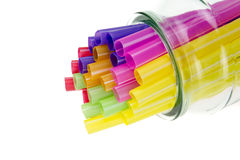 Colorful drinking straws isolated Stock Photos