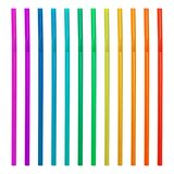 Colorful drinking straws isolated on white background. Plastic straws collection. Drinking straws. stock photo