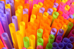 Colorful drinking straws. Multi colored plastic drinking straws Royalty Free Stock Photos