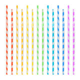 Colorful Drinking Straws Set. 3D Striped Icon Isolated In White Background. Vector illustration Stock Photo