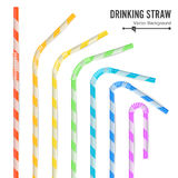 Colorful Drinking Straws Set. 3D Striped Icon Isolated In White Background. Vector illustration Royalty Free Stock Photography