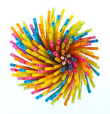 Colorful drinking straws on white background Royalty Free Stock Photo