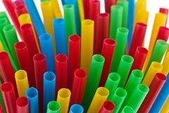 Colorful drinking straws. On white background Royalty Free Stock Photos