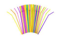 Colorful drinking straws on a white. Background Royalty Free Stock Images