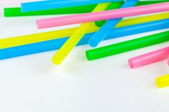 Colorful drinking straws. On white background Stock Photos