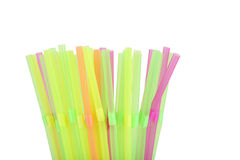 Colorful drinking straws on white background, close up Royalty Free Stock Photography