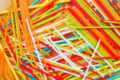 Colorful drinking straws. On wooden background Stock Photo