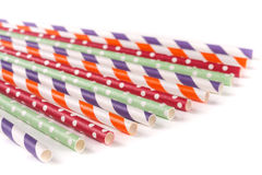 Colorful drinking striped straws isolated on white background Stock Images