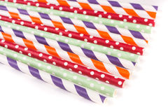 Colorful drinking striped straws isolated on white background Stock Photography