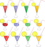 Colorful drinks. Set of  illustration Royalty Free Stock Image