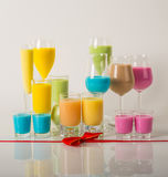 Colorful drinks based on milk liqueurs, unique pastel colors of royalty free stock photos