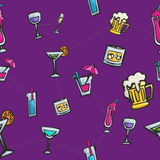 Colorful  drinks and cocktails seamless pattern Royalty Free Stock Photo