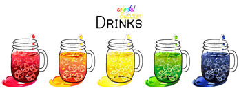 Colorful drinks in mason jars Stock Image