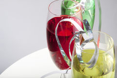 Colorful drinks with streamers Stock Photos