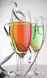 Colorful drinks with streamers Royalty Free Stock Photo