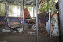 Colorful drivers seats of abandoned trolley car Stock Photography