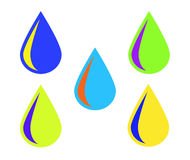 Colorful drops logo. Five colorful drops logo isolated on white Royalty Free Stock Photos