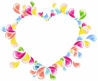 Colorful drops splashing heart frame Stock Image