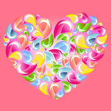 Colorful drops splashing heart over pink Royalty Free Stock Photos
