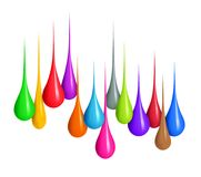 Colorful drops of various shapes close-up isolated on white. Background royalty free stock photo