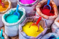 Colorful pigments in bags Stock Photo