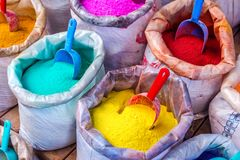 Colorful pigments in bags Royalty Free Stock Photos