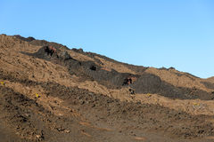 Colorful dry lava in the Piton de la Fournaise volcano Royalty Free Stock Photo