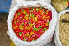 Colorful dry macaroni in Varanasi bazaar, India Royalty Free Stock Photos