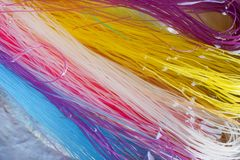 Colorful dry Noodle soak in water.  Royalty Free Stock Photo
