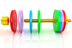 Colorful dumbbells are assembly and disassembly Royalty Free Stock Photo