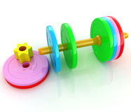Colorful dumbbells are assembly and disassembly Royalty Free Stock Images