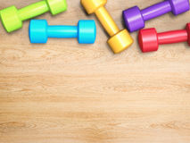 Colorful dumbbells Royalty Free Stock Images