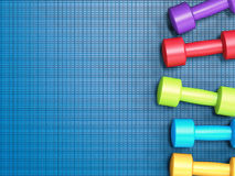 Colorful dumbbells Stock Photo