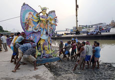 Colorful Durga at Ghat. Royalty Free Stock Image