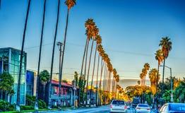 Colorful dusk on Sunset boulevard. Los Angeles, California Royalty Free Stock Photo