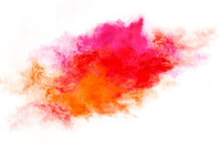Colorful Dust Particle Explosion Isolated on White Royalty Free Stock Photo